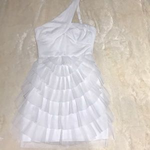White BCBGMAXAZRIA One Shoulder Dress Size 0
